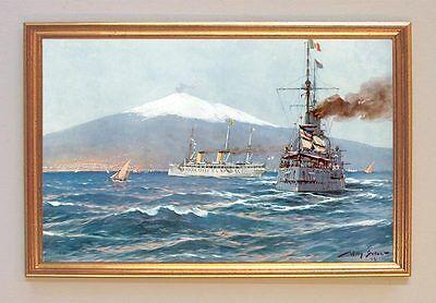 Kaiser Wilhelm II Jacht Hohenzollern vor dem Ätna mit Begleitkreuzer STÖWER 81LW