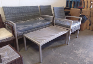 4 piece grey wicker patio set (brand new)
