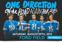 ONE DIRECTION CONCERT TICKETS - AUG 29 - FORD FIELD - GOOD SEATS