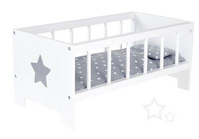 Sun Puppenbett Sternchen aus Holz Weiß-Grau Holzbett Bett Puppe Stern Gitterbett