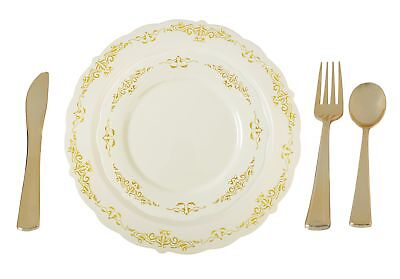 Plastic China Plate Silverware Combo Serving For 20 115 Piece Setivory Gold