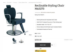 Leather Reclining Hydraulic Barber/Spa Chair