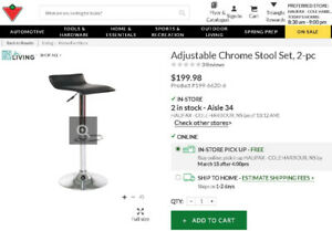Adjustable  Black & Chrome Stool Set - BRAND NEW!