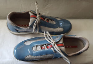 Excellent Condition Teal/Silver Patent/Mesh Prada Americas Cup