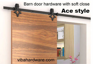 Barn door hardware with soft close, modern or rustic, from $150