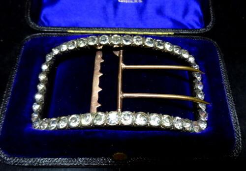 Early 19th C Silver Gold Plated Georgian Paste Belt Buckle Original Box London