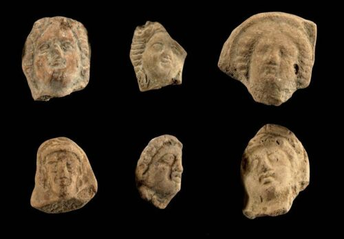 *SC* FINE COLLECTION OF 6 GREEK POTTERY HEADS, 3RD-1ST CENT BC