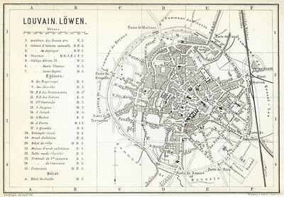 LOUVAIN, LOWEN 1885: Baedeker Town Plan - Belgium old map