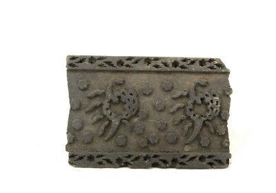 Antique Bunta Stamped Wood Printing Fabric Textile Batik Rajasthan India D9 F