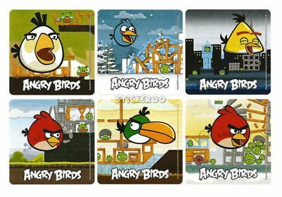 12 Angry Bird Stickers Kid Reward Party Goody Loot Bag Filler Favor Supply
