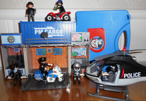 PLAYMOBIL  Police (poste ,hélicoptère ,moto ,4 roues ,figurines)