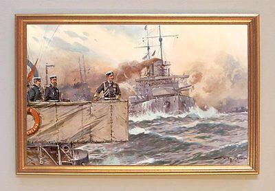 Kaiser Wilhelm II dem Deck bei Flottenmanöver Gemälde auf Leinwand Stöwer 82 LW