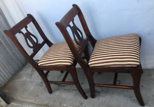 A pair of antique Duncan Fyfe style chairs, new fabric (delivery