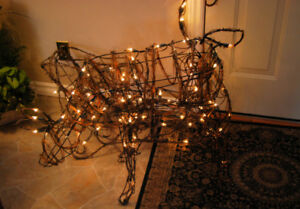 Christmas net lights for outside and reindeer and sleigh lighted
