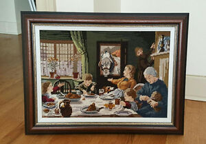 Vintage NEEDLEPOINT Picture - One of the Family 1880 - FG Cotman
