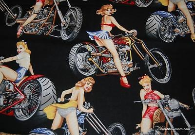 T406 Sexy Pin Up Girl Biker Chic Hot Motorcycle Bike Lady Cotton Quilt Fabric](Hot Biker Girl)