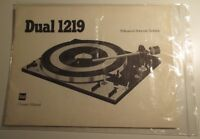 Dual 1219 Turntable Owner's Manual. English