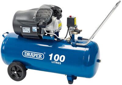 100 Litre Direct Drive Air Compressor 14.6CFM 3HP 230v Draper 100L 2.2Kw 3.0Hp