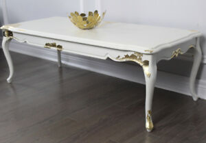 Mid-Century White w/ gold leafing Coffee Table