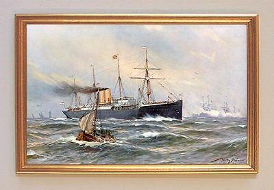 Fahrt des Kaiser Wilhelm II auf Dampfer Lahn Leinwand Gemälde Willy Stöwer 79 LW