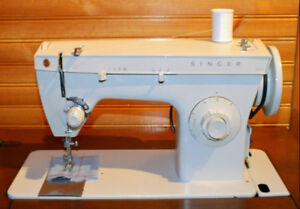 VINTAGE SINGER 427 SEWING MACHINE WITH CABINET AND BENCH