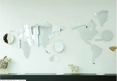Large World Map Wall Clock Mirror DIY Sticker 3Clock Puzzle Decor Interior Gift