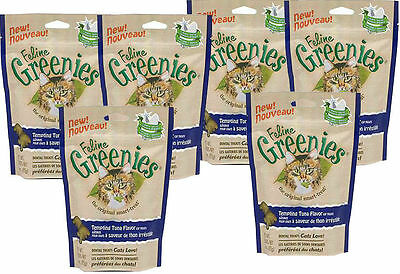 6 X FELINE GREENIES CAT DENTAL TREAT - REDUCE TARTAR AND BAD BREATH - 15 oz.