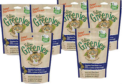 6 X FELINE GREENIES CAT DENTAL TREAT - REDUCE TARTAR AND BAD BREATH - 15 oz.