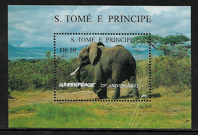 St. Thomas & Prince Is #1241 Mint Never Hinged S/Sheet - Greenpeace - Elephant