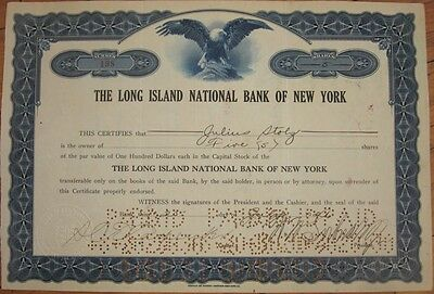1926 Stock Certificate: 'Long Island National Bank of New York' - NY