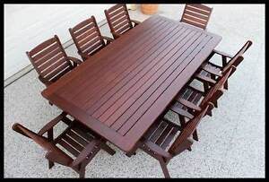 9 pce Kwila outdoor dining setting. Solid  chairs and table Brisbane City Brisbane North West Preview