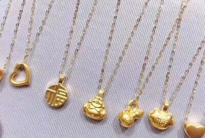 18k pure gold pendant necklace fine jewelry, some pendants are made to...