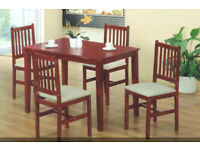 NEW CLEARANCE DINING STARTER MAHOGANY COLOUR FACTORY ASSEMBLED TABLE + 4 CUSHION TOP CHAIRS