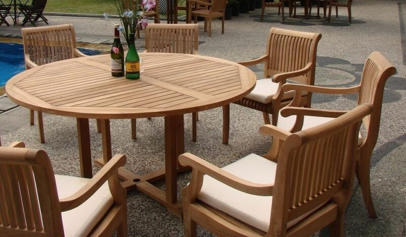 """Giva A-grade Teak 7 Pc Dining 60"""" Round Table 6 Arm Chair Set Outdoor New"""