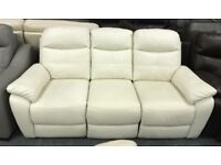High retail reclining white leather 3 seater sofa