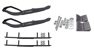 """C&A Pro Black MTX Snowmobile Skis w/ 6"""" Round Bars Complete Kit"""