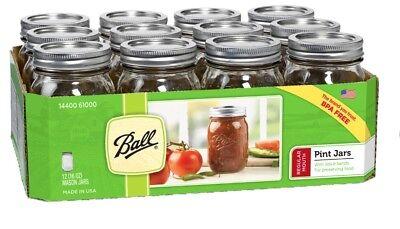 Ball Reg.Mouth Clear Glass Mason Jars 16oz Pint Canning Preserve Lids 12 Set USA
