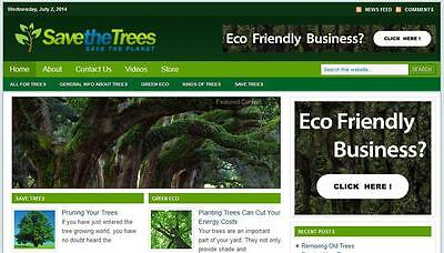 Save The Trees Eco Business Affiliate Website Free Installation Hosting