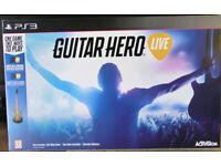 PS3 Guitar Hero Guitar and Game as New