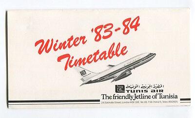 TUNIS AIR UK TIMETABLE WINTER 1983/84