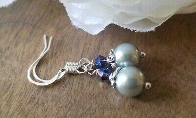 Grey pearl drop earrings, Elegant Purple Swarovski crystals Glass Beaded Dangle - Gray Pearl Earrings
