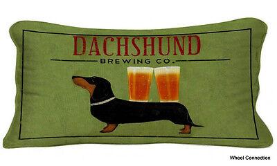 Lg Lumbar Pillow Dachshund Brewing Co Dog Beer Casual Designer Ryan Fowler 25x13 ()
