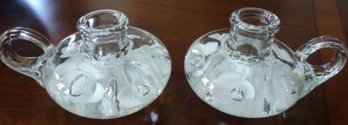 Pair Joe St. Clair Art Glass TRUMPET Flower Handled Paperweight CANDLE HOLDERS