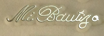 48 Plastic Cake Topper Mi Bautizo Sign White w/ Silver Baptism Favor Decorations