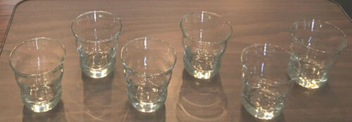 VINTAGE CRATE & BARREL Clear 12 oz. Drinking Glass Tumblers CURVE SWERVE 6-PC