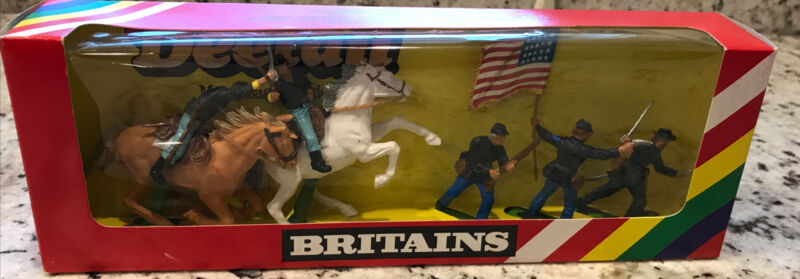 Britains Deetail Federal Soldiers (5) Horses (2) NEW IN BOX 1980