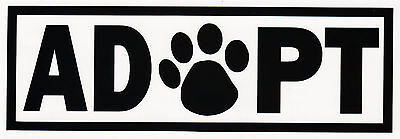 """ADOPT"" DOG CAT ANIMAL RESCUE ADOPTION PAW PRINT VINYL DECAL CAR BUMPER STICKER"