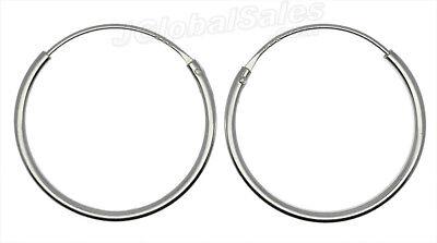 Genuine 925 Sterling Silver 20mm Endless Hoop Earrings 1.25mm (1 pair) ~3/4