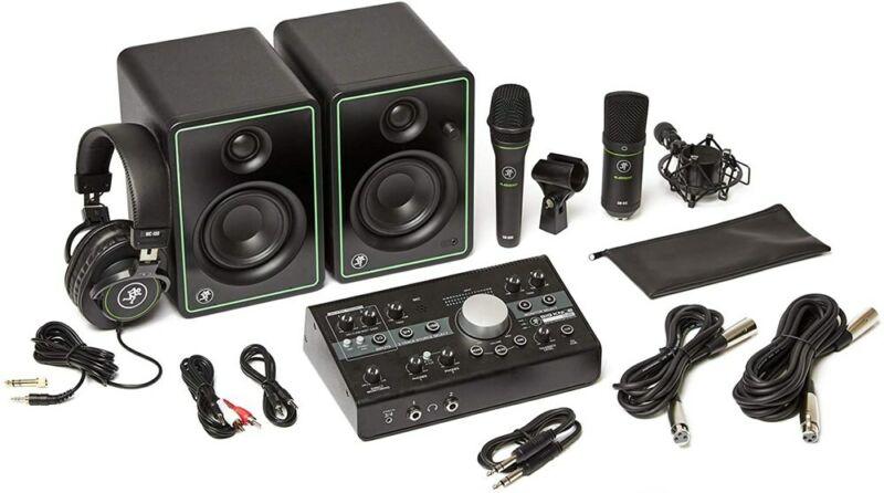 "Mackie Studio Bundle 3"" Monitors, Controller, Headphones, and Two Microphones"