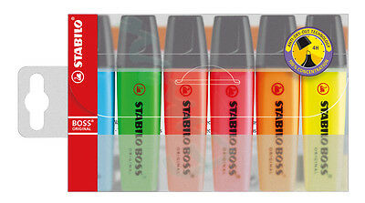 STABILO BOSS Assorted Highlighter Pens 6 Pack - Same Day Dispatch